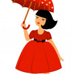 Cartoon little girl with umbrella — Stock Vector