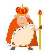 Vector koning van schapen in een kroon op een witte achtergrond — Stockvector