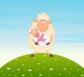 Cartoon smiling sheep mother with infant baby — Stock Vector
