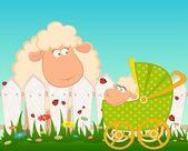 ベクトル漫画落書き乳母車と羊の笑みを浮かべて — ストックベクタ