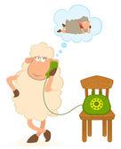 Illustration of cartoon sheep speaks by phone — Stock Vector