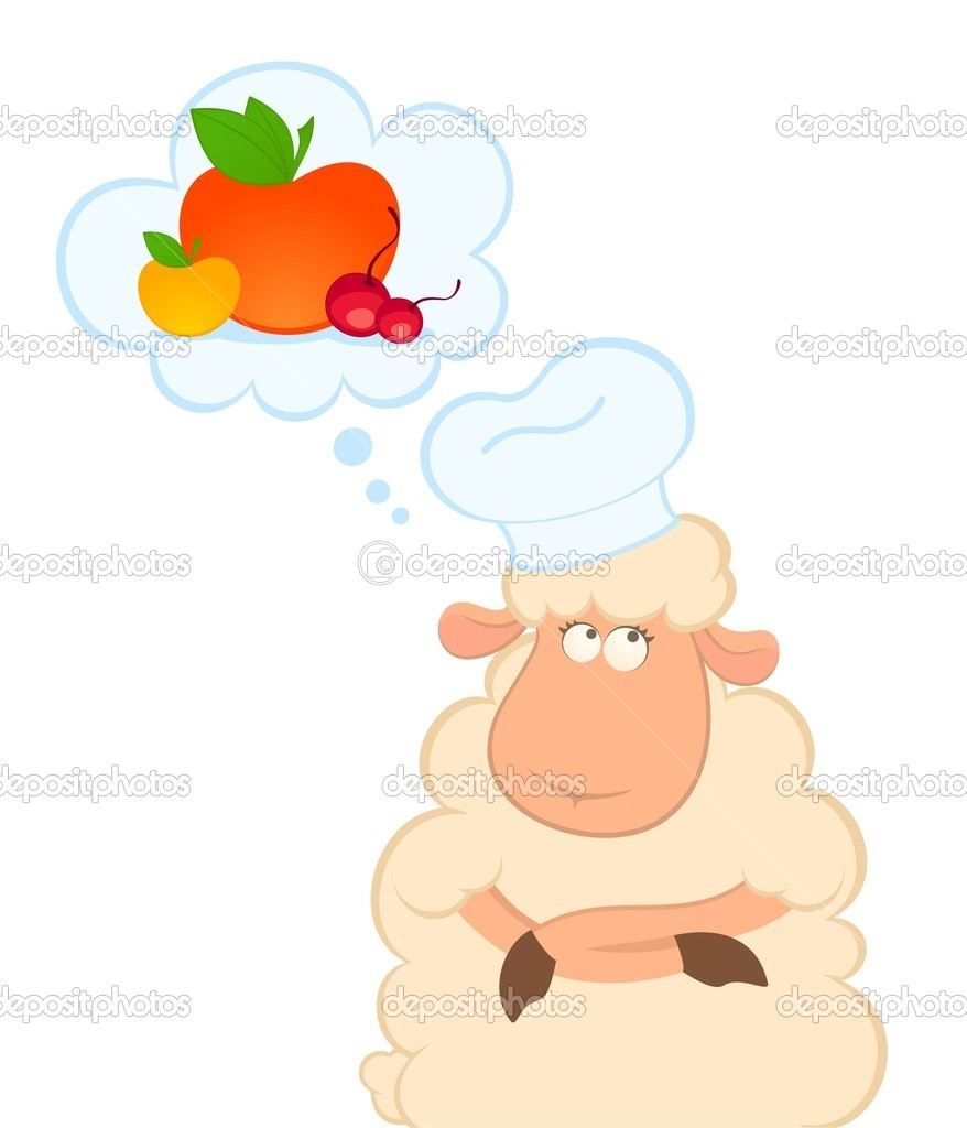 Vector illustration of cartoon sheep thinks about food — Stock Vector #7235549
