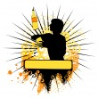 Vector silhouette of barman showing tricks with a bottle — ストックベクタ