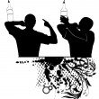 Silhouette of barman showing tricks with a bottle — 图库矢量图片