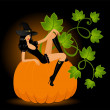 Stock Vector: Beautiful sexual witch and pumpkin