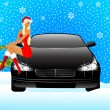 Beautiful girl in appearance a snow maiden sits on the hood of car — Stock Vector