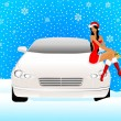 Stock Vector: Beautiful girl in appearance a snow maiden sits on the hood of car