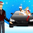 Beautiful girl in the suit of snow maiden and man on a background a car — Stock Vector