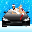 Beautiful girl in appearance a snow maiden sits on the hood of car — Stock Vector #7335451