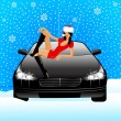 Beautiful girl in appearance a snow maiden sits on the hood of car — Stock Vector #7335482