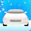 Royalty-Free Stock Vector Image: Beautiful sporting car on a winter snow background for Christmas