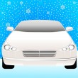 Beautiful sporting car on a winter snow background for Christmas — Stock Vector