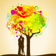 Abstract colorful tree with lovers. Nature decoration. — Stock Vector