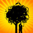 Abstract colorful tree with lovers. Nature decoration. — Grafika wektorowa