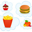 Vector cheeseburger with the pack of french fries, sweet cupcake on white b — Stock Vector