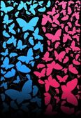 Vector abstract background with tropical butterflies — Stock Vector