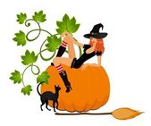 Beautiful sexual witch sits on a pumpkin — Stock Vector