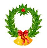 Beautiful christmas wreath with a gold bells — Stock vektor