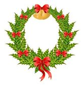 Beautiful christmas wreath with a gold bells — Vector de stock