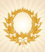 Beautiful christmas gold wreath with a white bow — Vetorial Stock