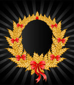 Beautiful gold christmas wreath with a red bow — Cтоковый вектор