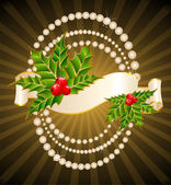 Christmas holly decorate with free stroke ribbons border — Cтоковый вектор