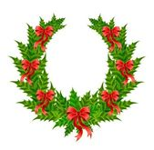 Beautiful christmas wreath with a red bow — Vector de stock