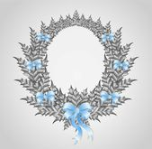 Beautiful christmas wreath with a bow — Stockvector
