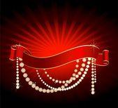 Bright christmas red ribbon — Stock Vector