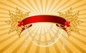Jul holly dekorera med gratis stroke band gränsen — Stockvektor