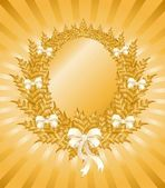 Beautiful christmas gold wreath with a white bow — Cтоковый вектор