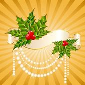 Christmas holly decorate with free stroke ribbons border — Stockvector