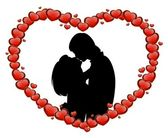 Silhouette of lovers on a background with heart — Stock Vector