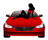 Silhouette of beautiful glamour girl sitting by the car — Stock Vector