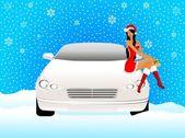 Görünüşte bir kar kızlık güzel kız arabanın kaputuna oturur — Stok Vektör