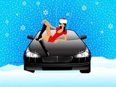 美丽的女孩在外观雪少女坐在汽车的引擎盖上 — 图库矢量图片