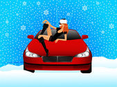 Bella ragazza in apparenza una fanciulla di neve si siede sul cofano della macchina — Vettoriale Stock