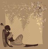 Hermosa chica africana con mariposa. ilustración de estilo retro — Vector de stock