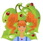 Zabawna dziewczyna nastolatka z czerwone włosy w stylu pippi langstrumpf — Wektor stockowy