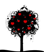 Vector abstract tree with red hearts. Nature decoration. — Stock Vector