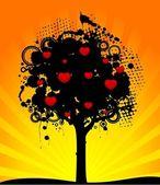 Abstraktní strom s červenými srdci. přírodní dekorace. — Stock vektor