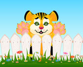 Cartoon smiling tiger after a fence — Stockvector