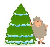 Cartoon funny sheep with a fir-tree. Vector illustration — Stock Vector