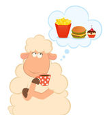 Vector illustration of cartoon sheep has coffee from a cup dream about harm — Stock Vector