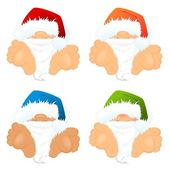 Set of little nice santa Clauses — Stock Vector
