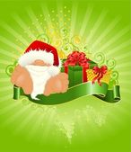 Little nice santa Claus in a red cap with a gift — Stock Vector