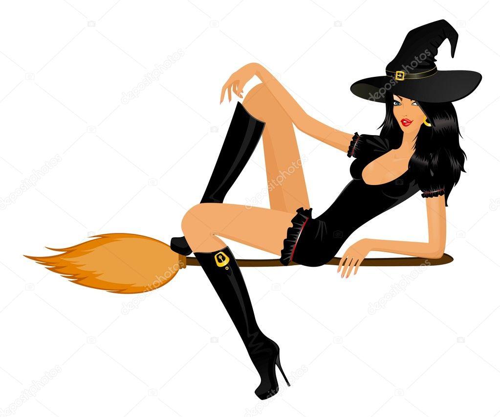 Sey Cartoon Witch On Broom