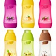 Royalty-Free Stock Vector Image: Set of design of bottle milky products with fruit - vector illustration