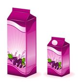 Set of packing milky products with fruit - vector illustration — Stock Vector
