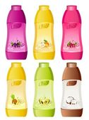 Set of design of bottle milky products with fruit - vector illustration — Stock Vector